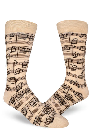 "Sheet music socks for men with cream & brown music notes that play Beethoven's ""Fur Elise."""