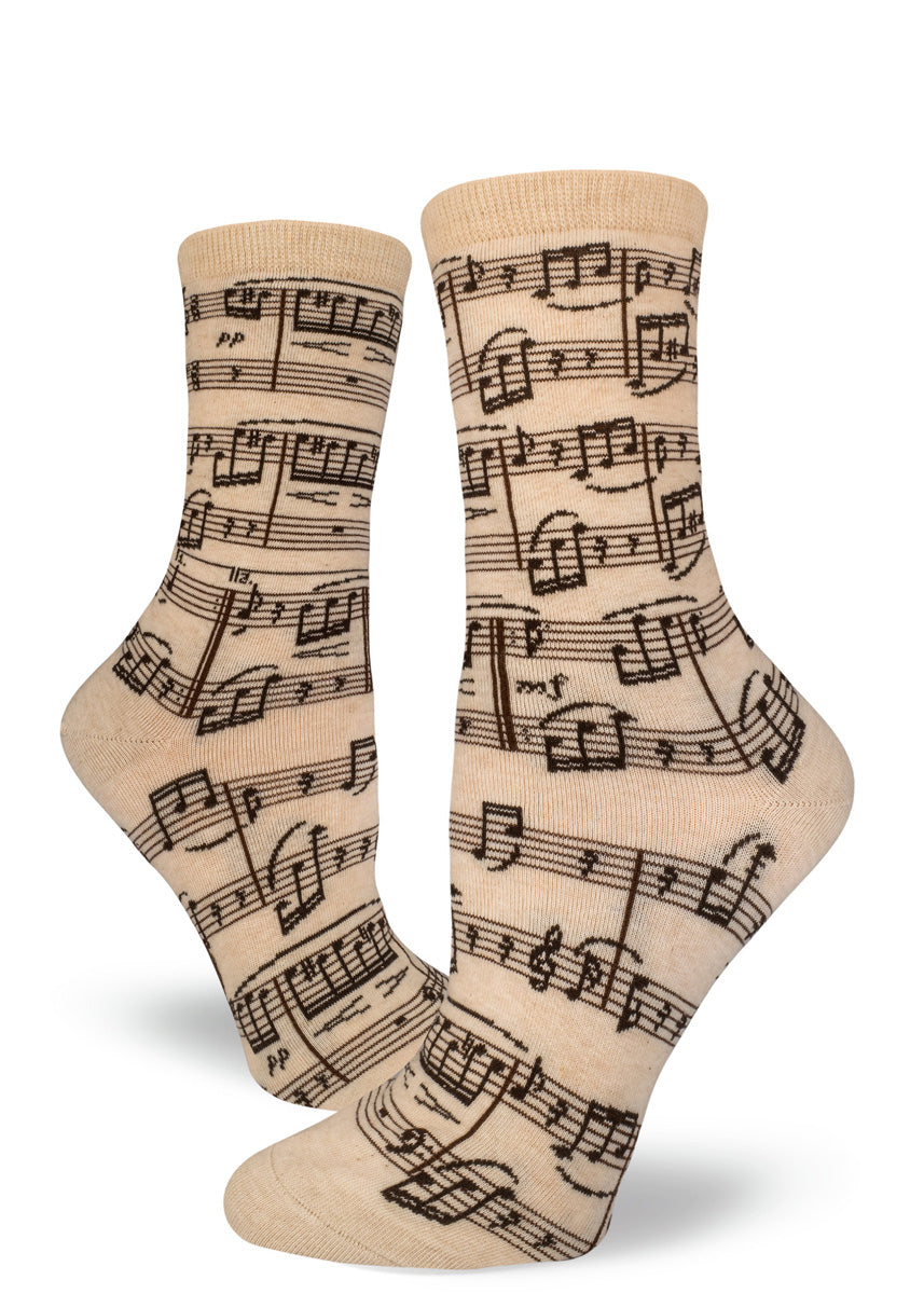"Cream music note socks for women with sheet music for Beethoven's ""Fur Elise."""