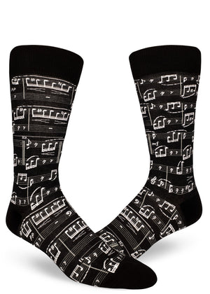"Sheet music socks for men with black and white music notes that play Beethoven's ""Fur Elise."""