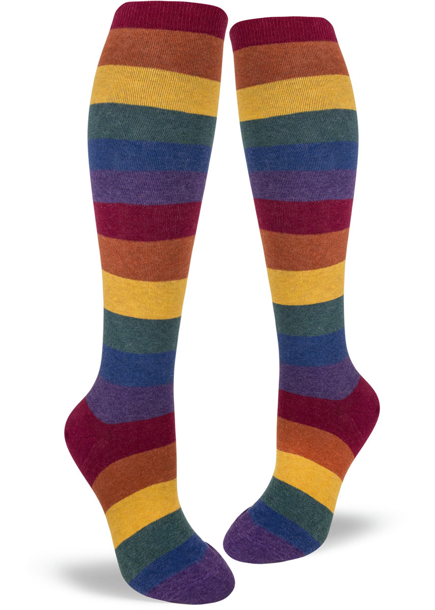 7488017f6d7 Knee-high rainbow socks with muted colored rainbow stripes