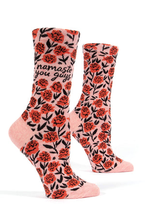 "Funny yoga socks for women with red roses and the words, ""Namaste you guys."""