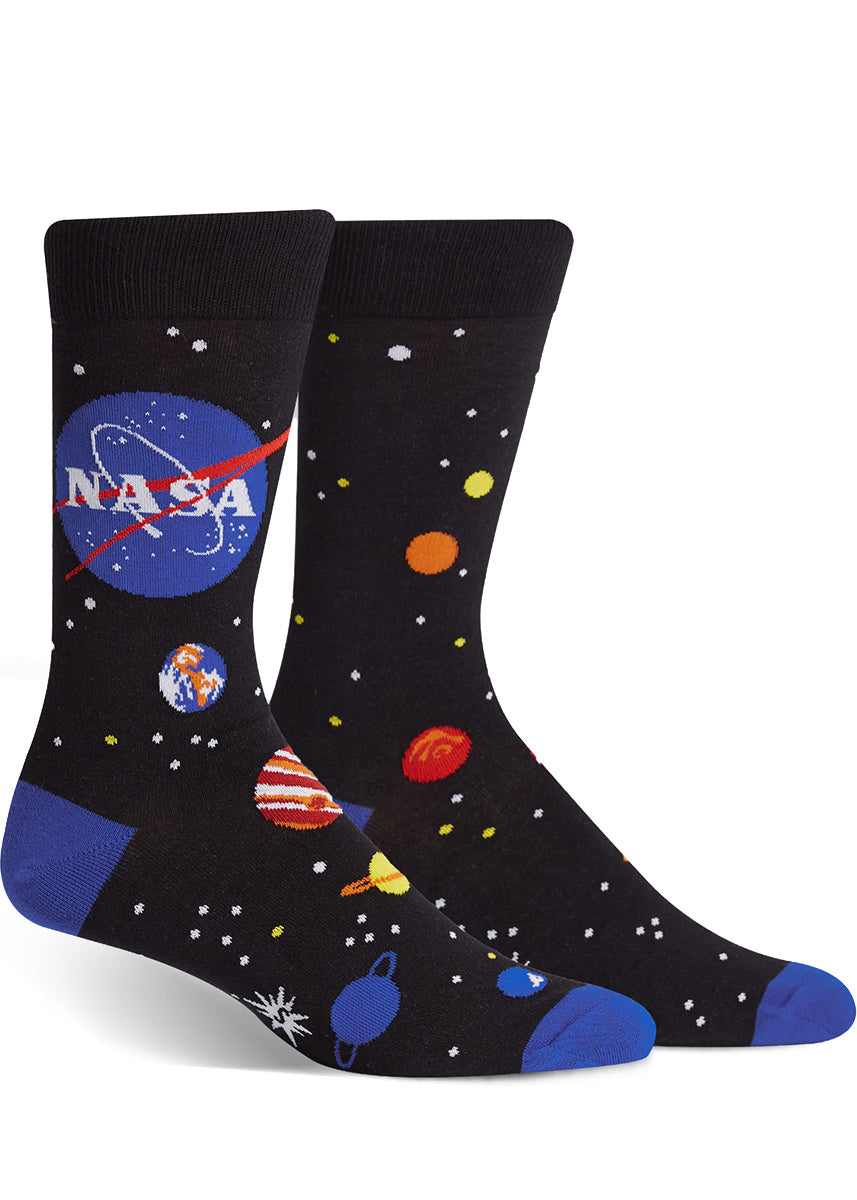 NASA socks for men with planets, stars and the NASA logo