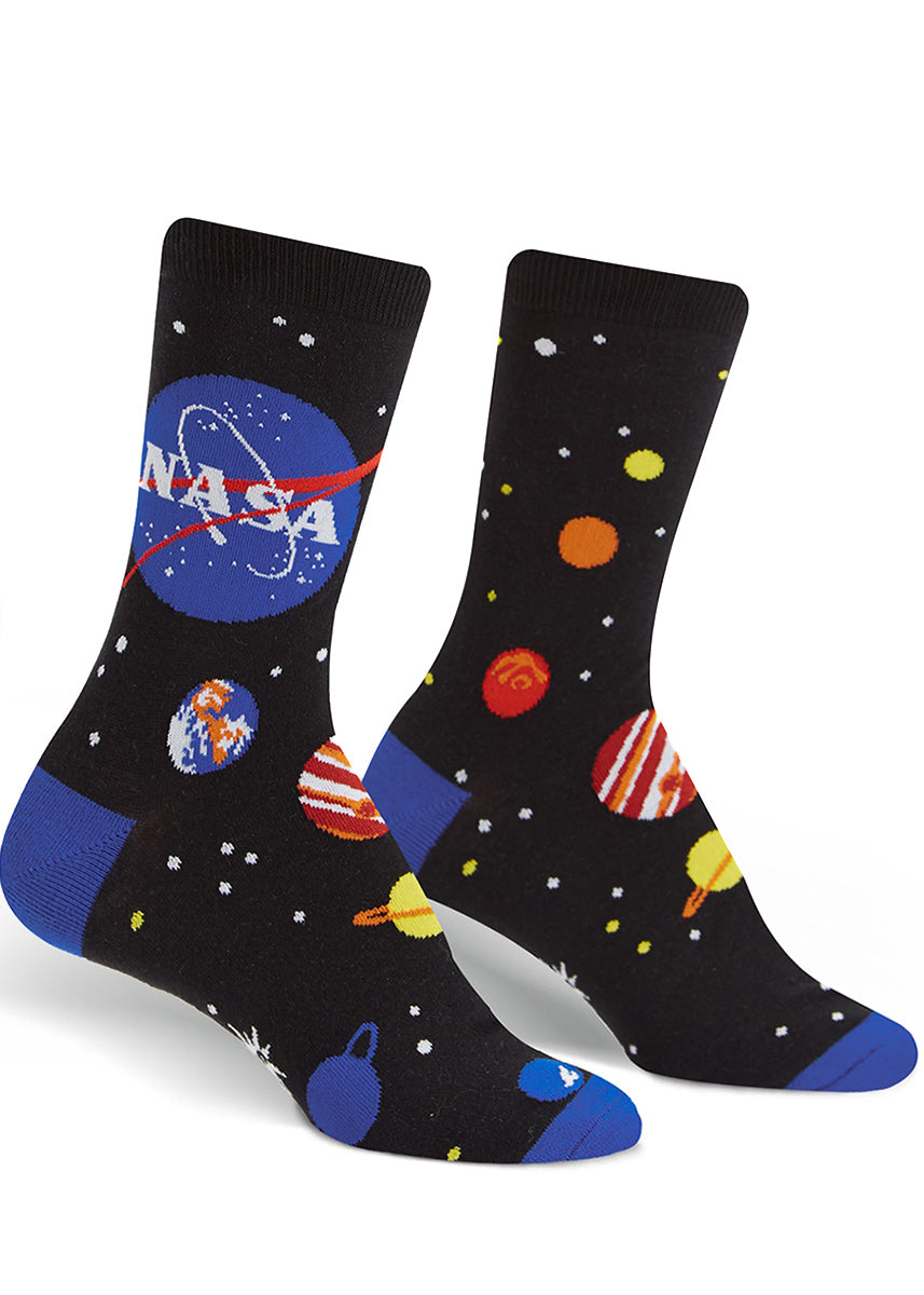NASA socks for women with planets, stars and the NASA logo