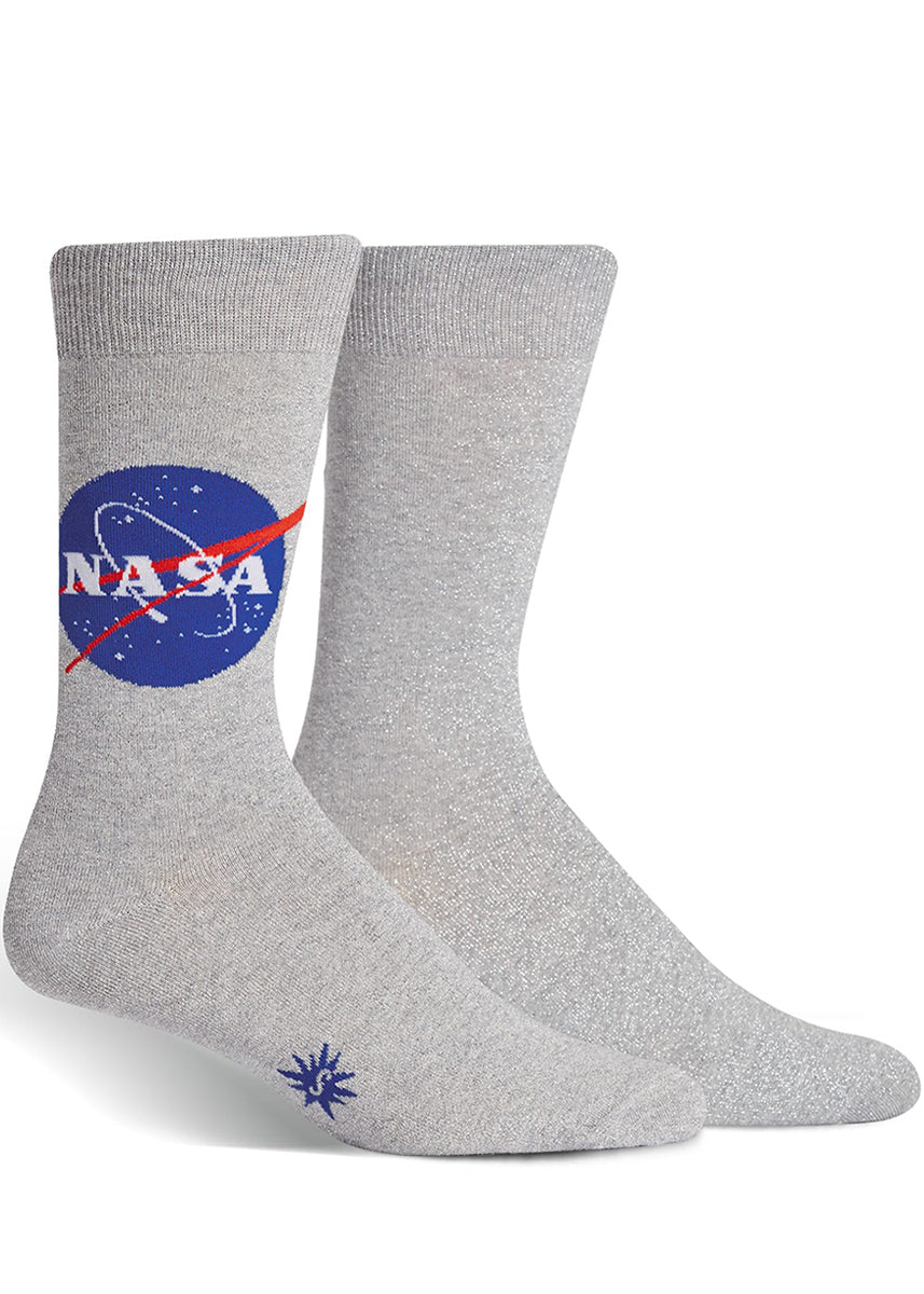 NASA socks that shimmer with silver thread, for men