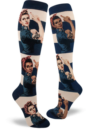 Knee-high socks with nasty Rosie the Riveters with different skin colors on a navy and cream striped background