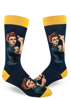 Nasty Rosie socks for men with feminist Rosie the Riveter raising her middle finger on a navy blue background