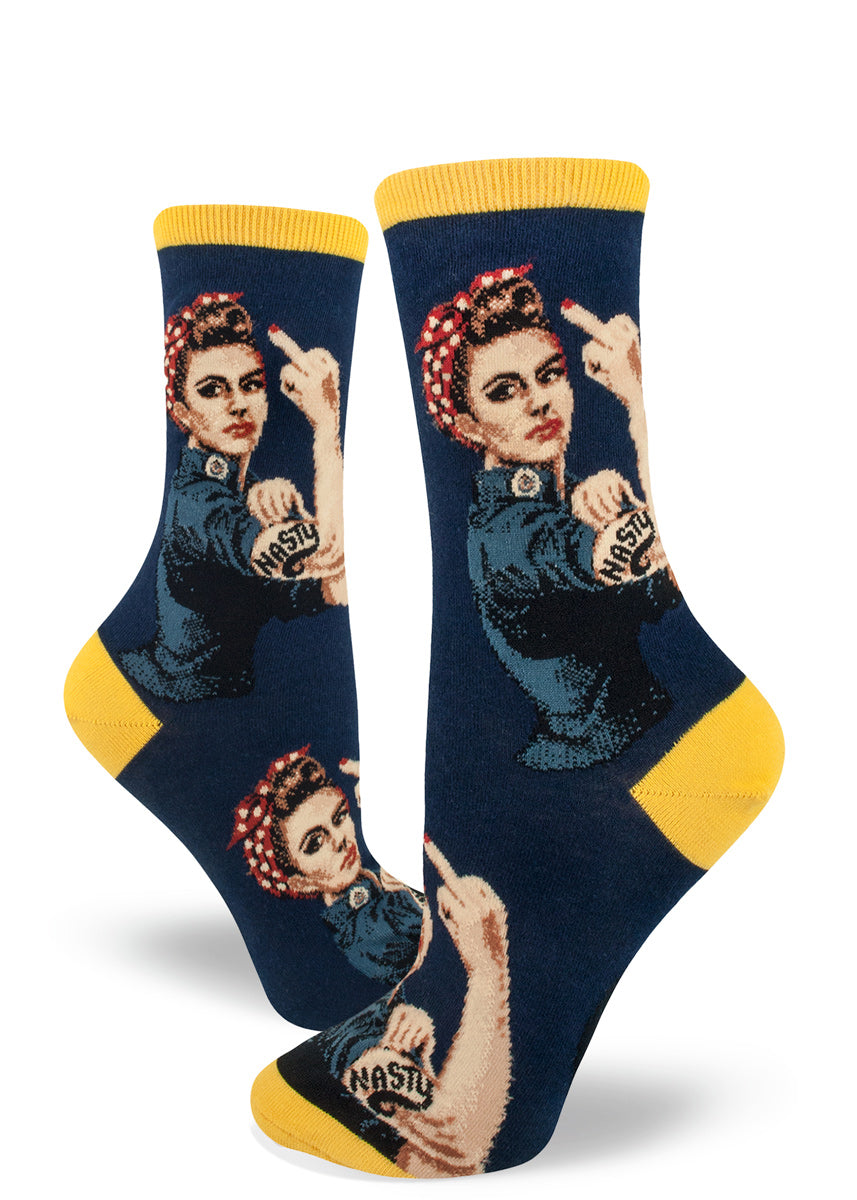 Nasty woman socks with Rosie the Riveter raising her middle finger on a navy blue background