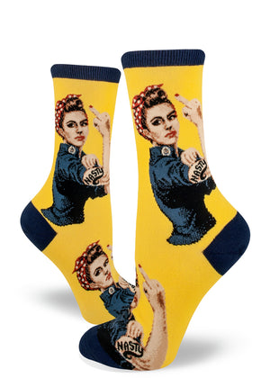 Nasty woman socks with Rosie the Riveter raising her middle finger on a yellow background