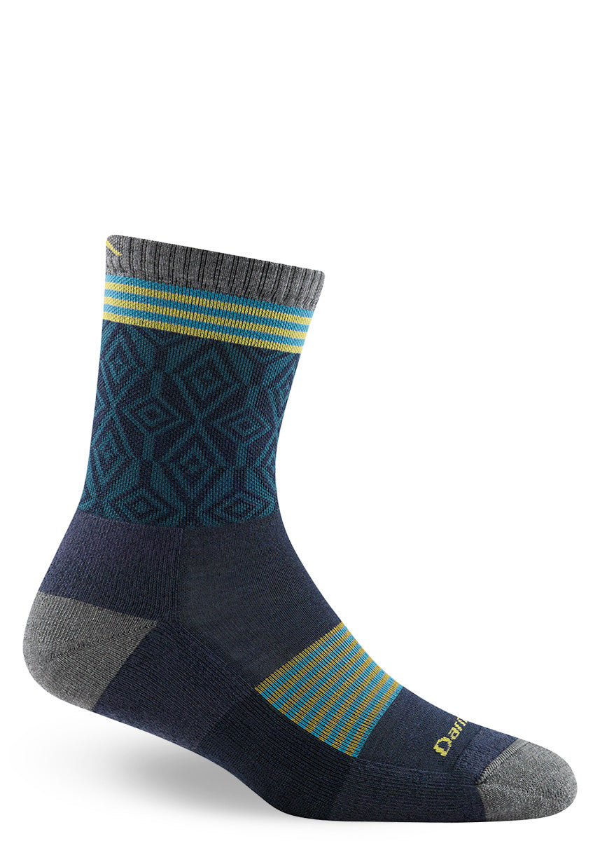 Navy wool hiking socks for women with diamond pattern and stripe designs.