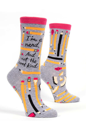 "Nerdy pencil socks for women that say ""I'm a nerd and not the cool kind"""