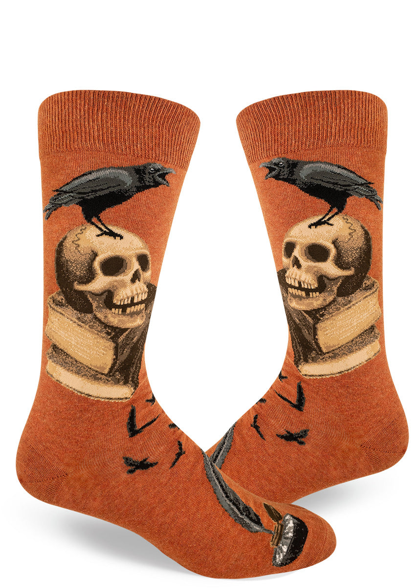 Raven socks for men with skulls and books for an Edgar Allan Poe Halloween sock