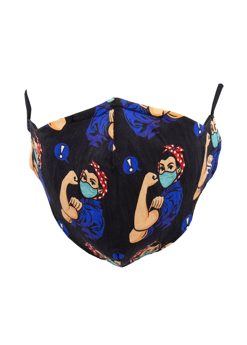 Reusable fabric face masks for adults feature Rosie the Riveter in a medical mask on a black background.