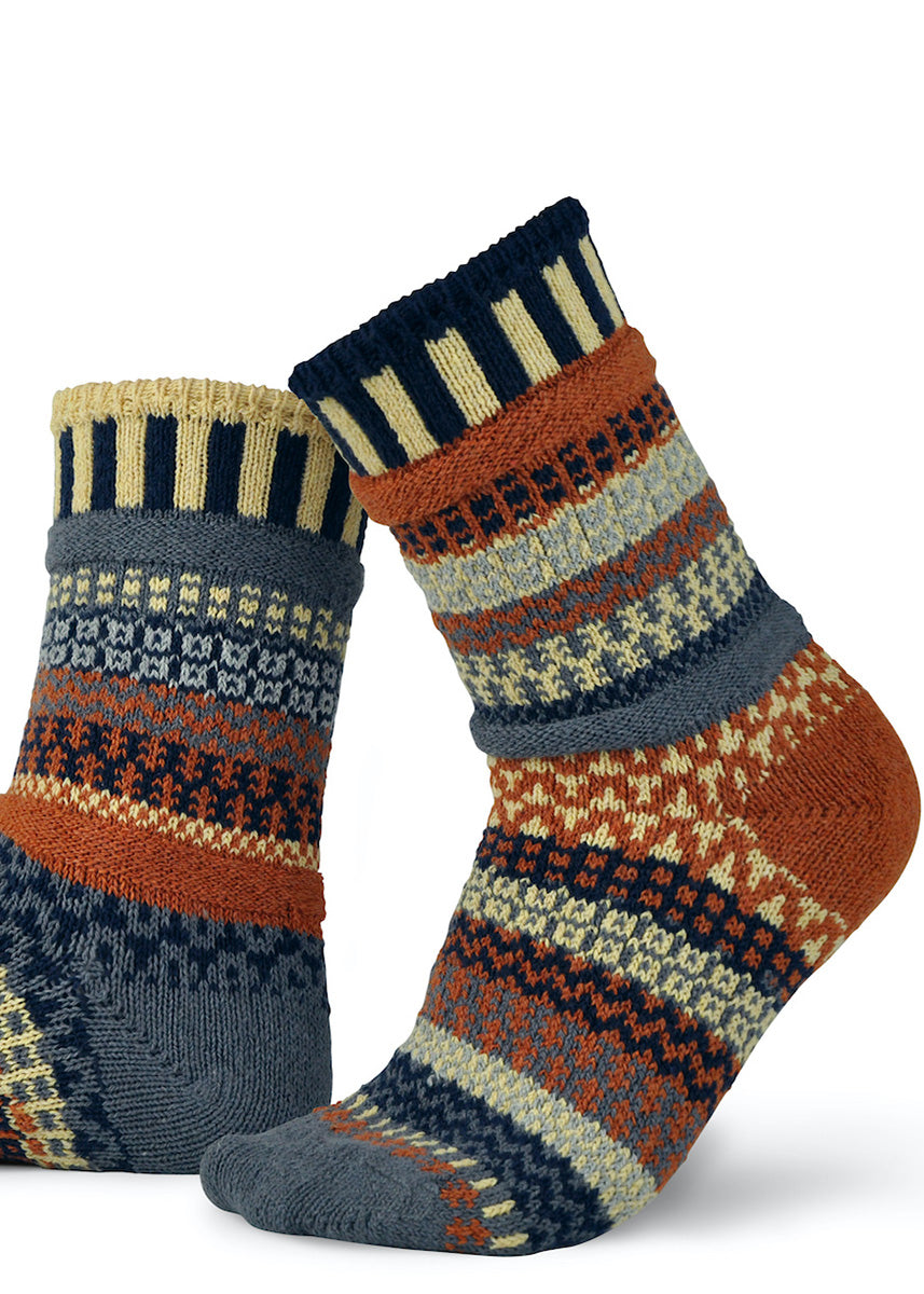 Cozy woven socks from Solmates feature wild mismatched patterns.