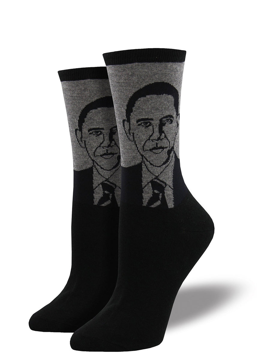 Obama socks for women feature a portrait of Barack.