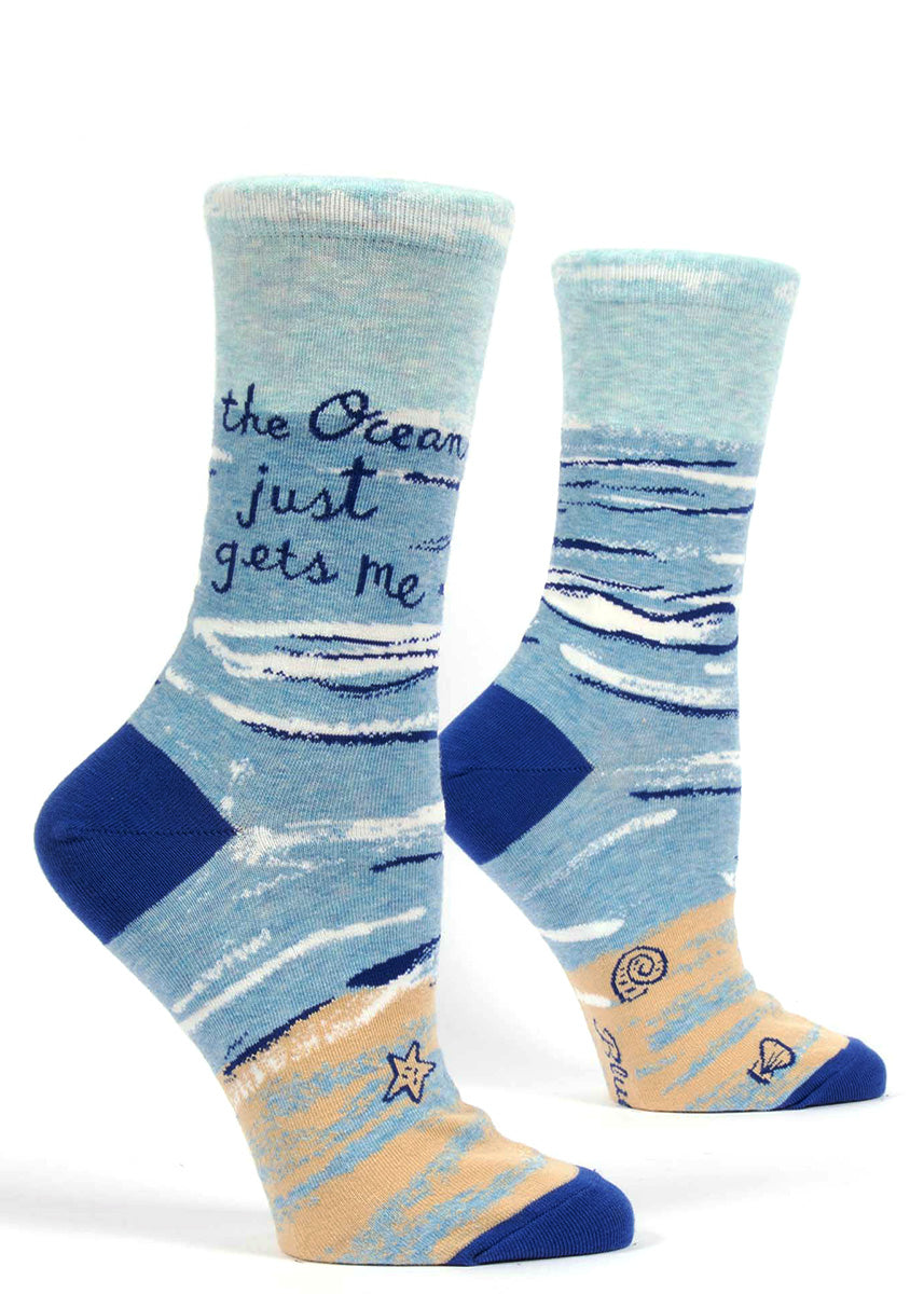 The Ocean Just Gets Me socks for women with waves on the beach