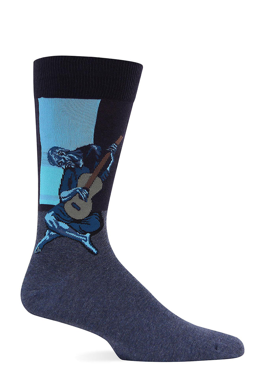 An old man plays an old guitar on these Picasso socks for men.