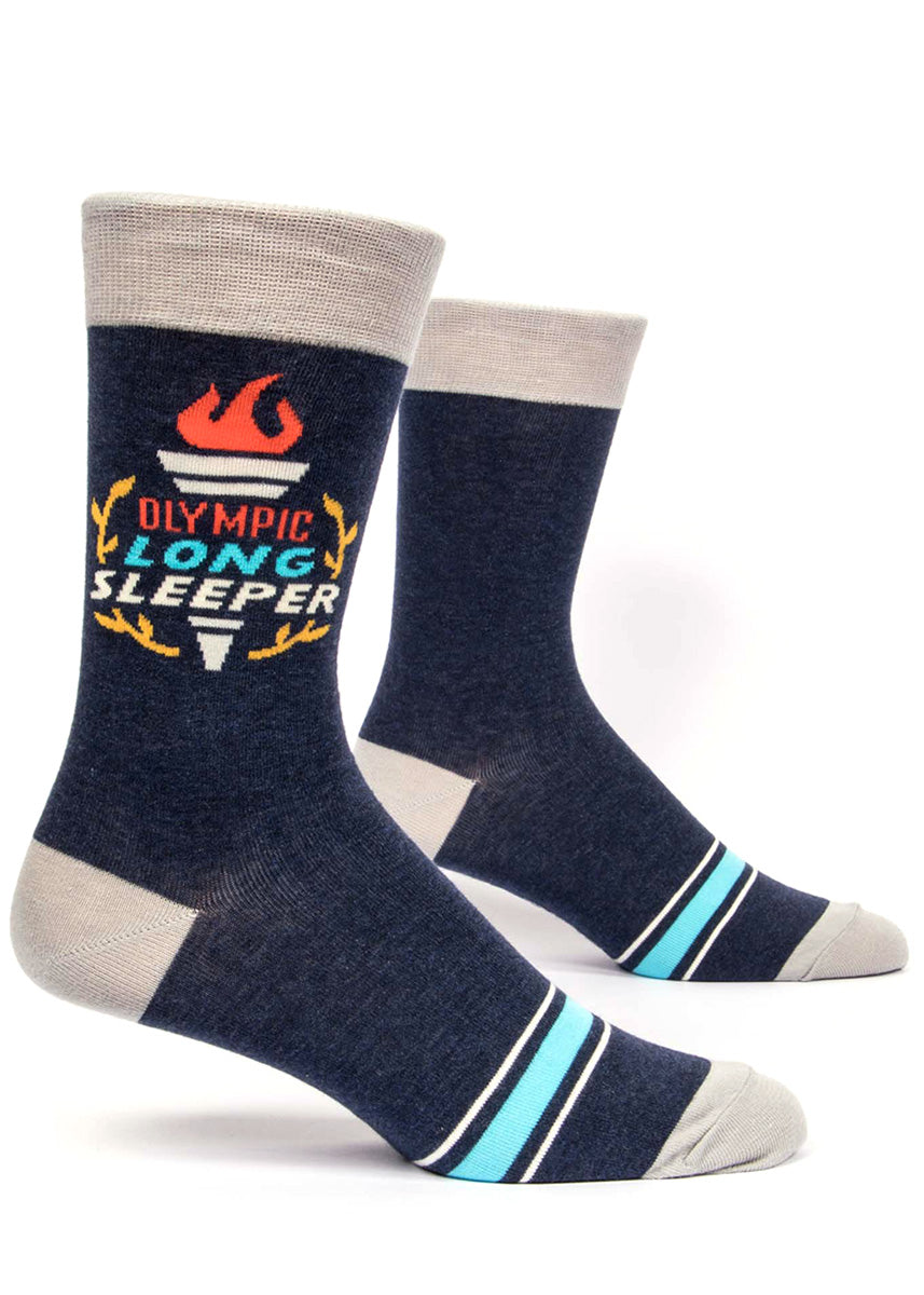 "Funny socks for mens with an Olympic torch and the words ""Olympic Long Sleeper."""