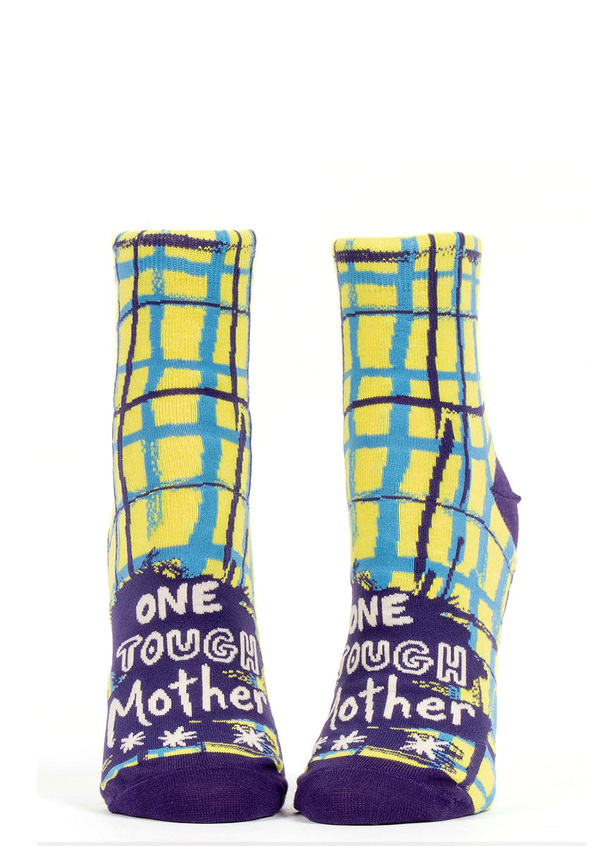 "Fun ""One Tough Mother"" ankle socks for women with blue and yellow crosshatch pattern and purple accents"