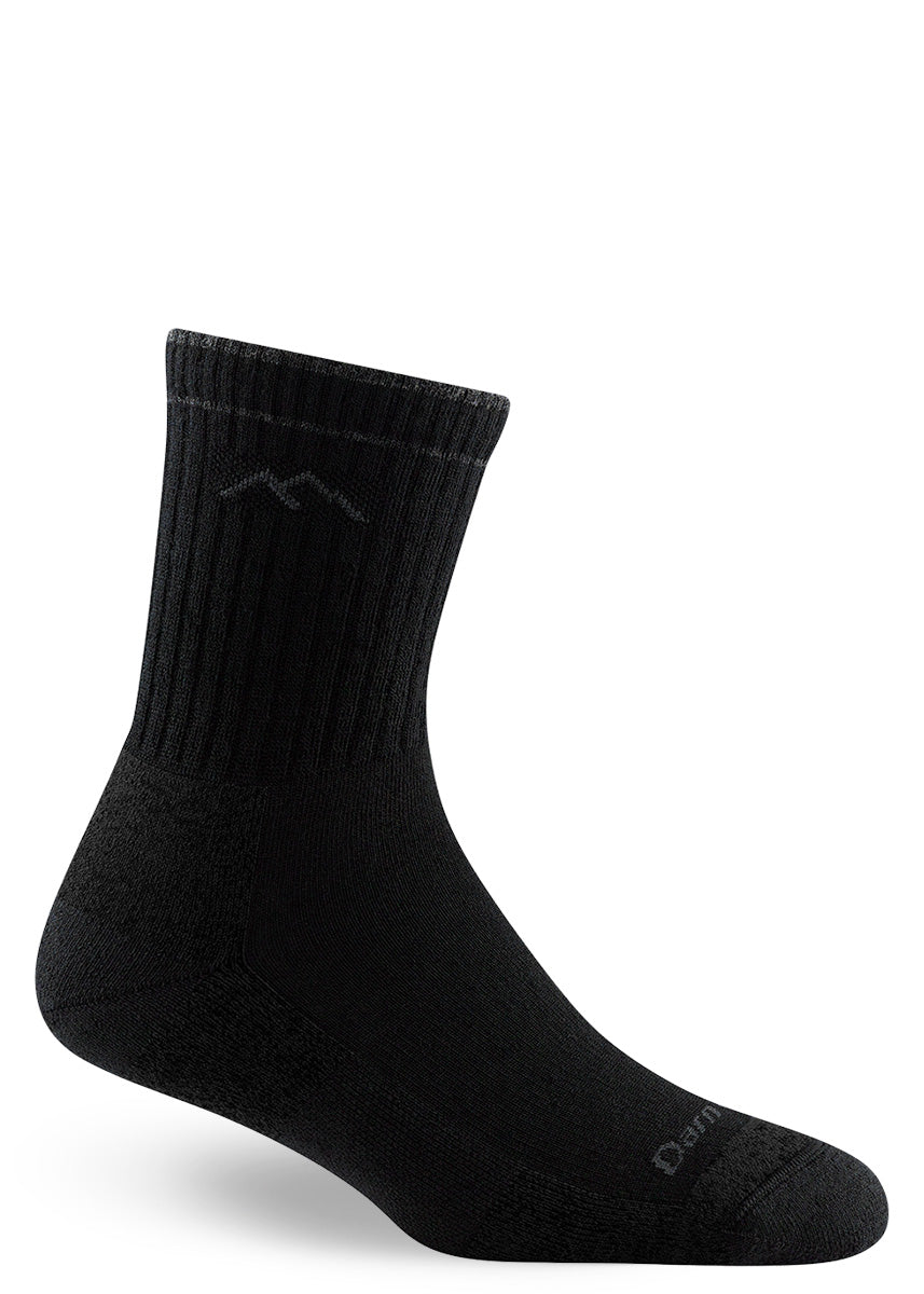 Wool hiking socks for women come in all-black with a cushioned footbed.