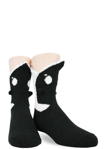 Orca 3D socks for kids that look like a whale is eating their feet