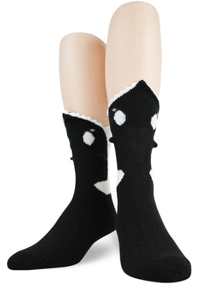 3D orca socks for men make it look like killer whales are biting your ankles.