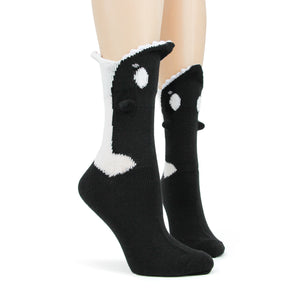 Hungry orcas eat your feet when you wear these orca bite crew socks.