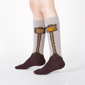Ostrich socks for kids with big ostrich faces looking grumpy on knee-high socks