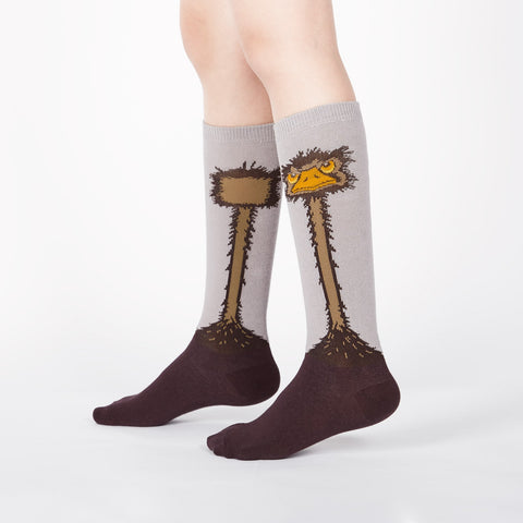 Knee-high ostrich socks for kids with grumpy bird faces