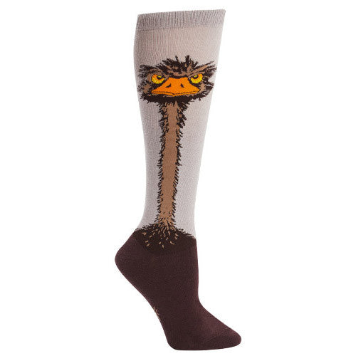 Knee-high ostrich socks for women with a grumpy ostrich glaring