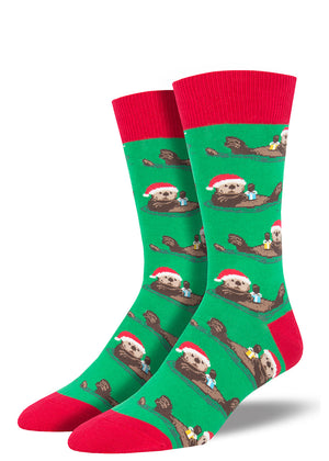 Otter socks for men with Christmas presents and Santa hats