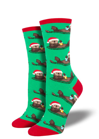 Christmas otter socks for women with sea otters wearing Santa hats holding presents