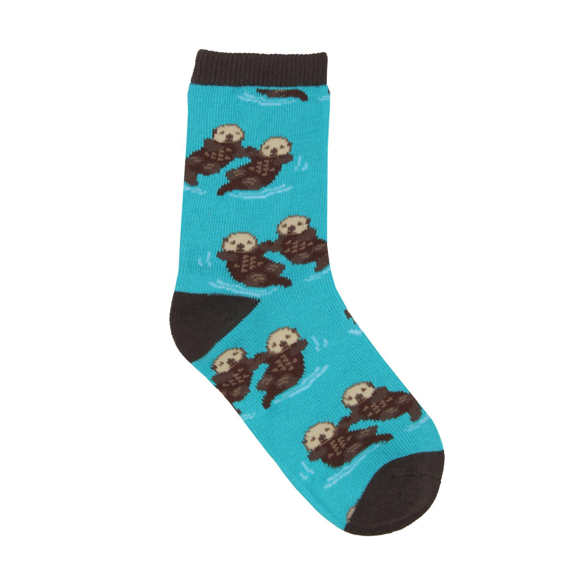 Cute sea otters hold hands on otter socks for kids.