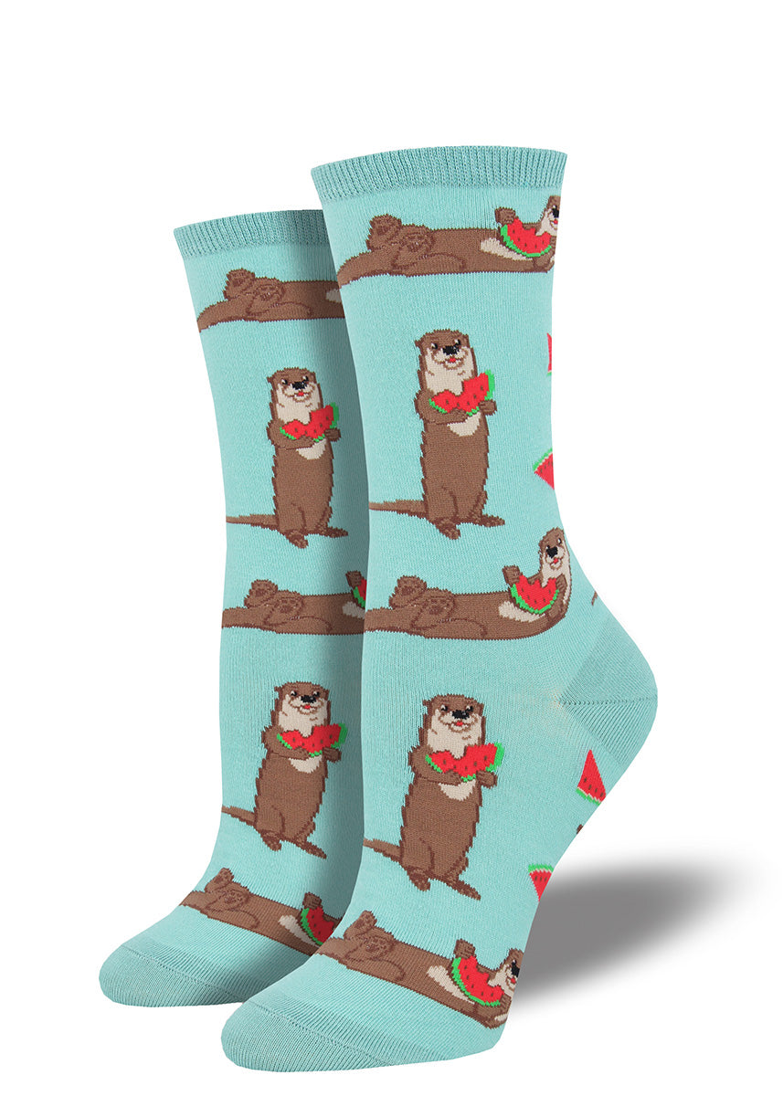 Cute otter socks for women with otters eating watermelon.