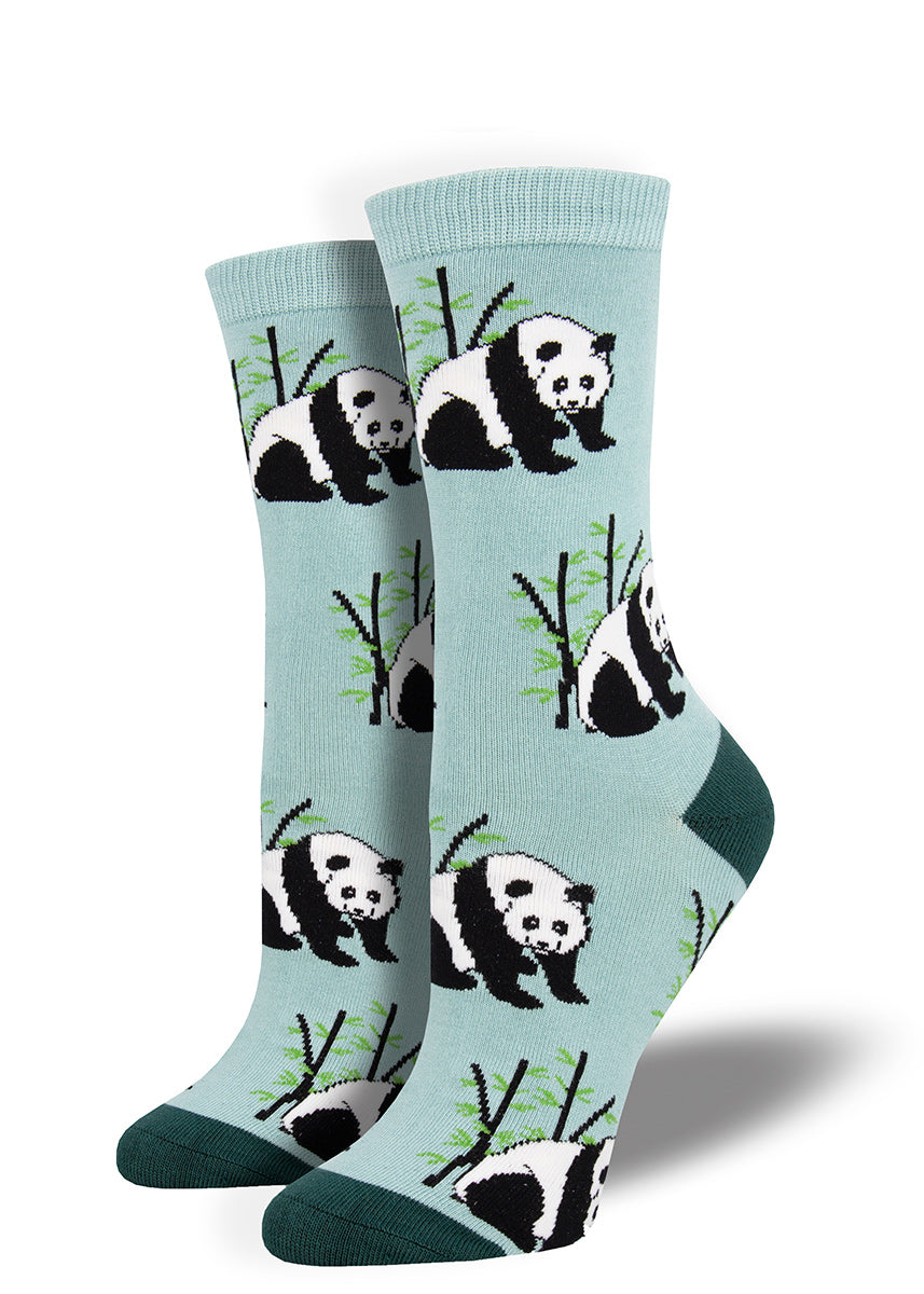 Panda socks for women with panda bears on bamboo socks