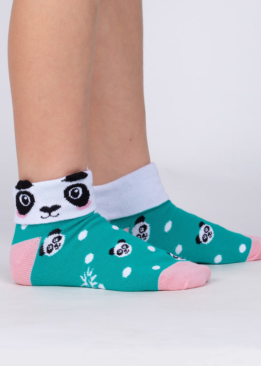 "Cute panda socks for kids can be worn two ways: cuffed down to reveal a panda's face or with the cuff up to reveal the word, ""PANDAMONIUM!"""