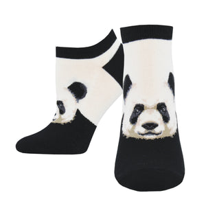 Black and white panda socks in ankle length.