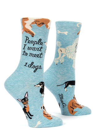 "Women's socks with dogs of different breeds and the words, ""People I wasn't to see: dogs."""