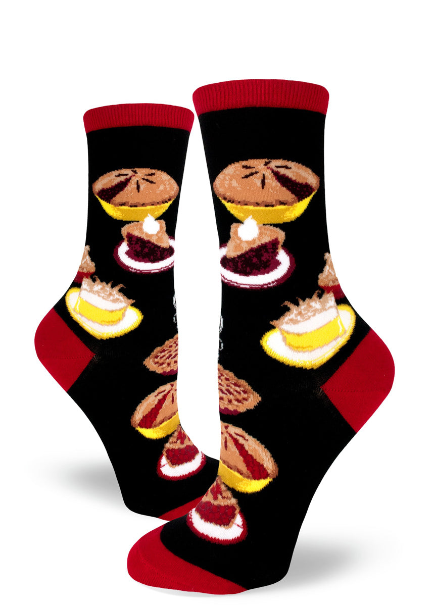 Cute pie socks for women with pies in different flavors including berry, lemon meringue and cherry pie on black socks