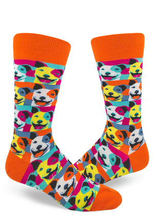Fun pit bull dog socks for men with colorful pit bull breed dogs in colorful Andy-Warhol-inspired portraits