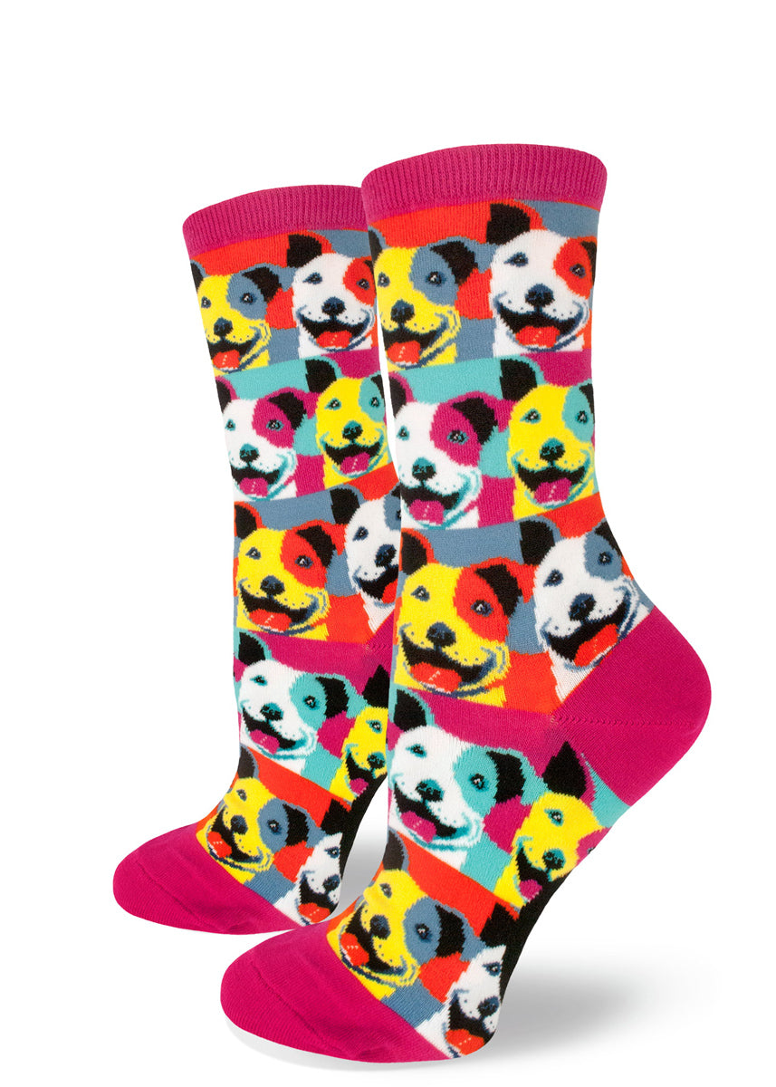 Pop art pit bull dog socks for women with colorful Warhol-inspired dogs