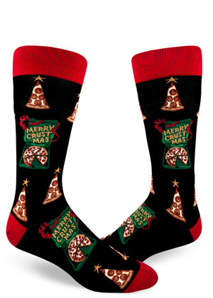 "Funny pizza Christmas socks for men with pizza slices that look like Christmas trees and pizza boxes with the words ""Merry Crustmas"""
