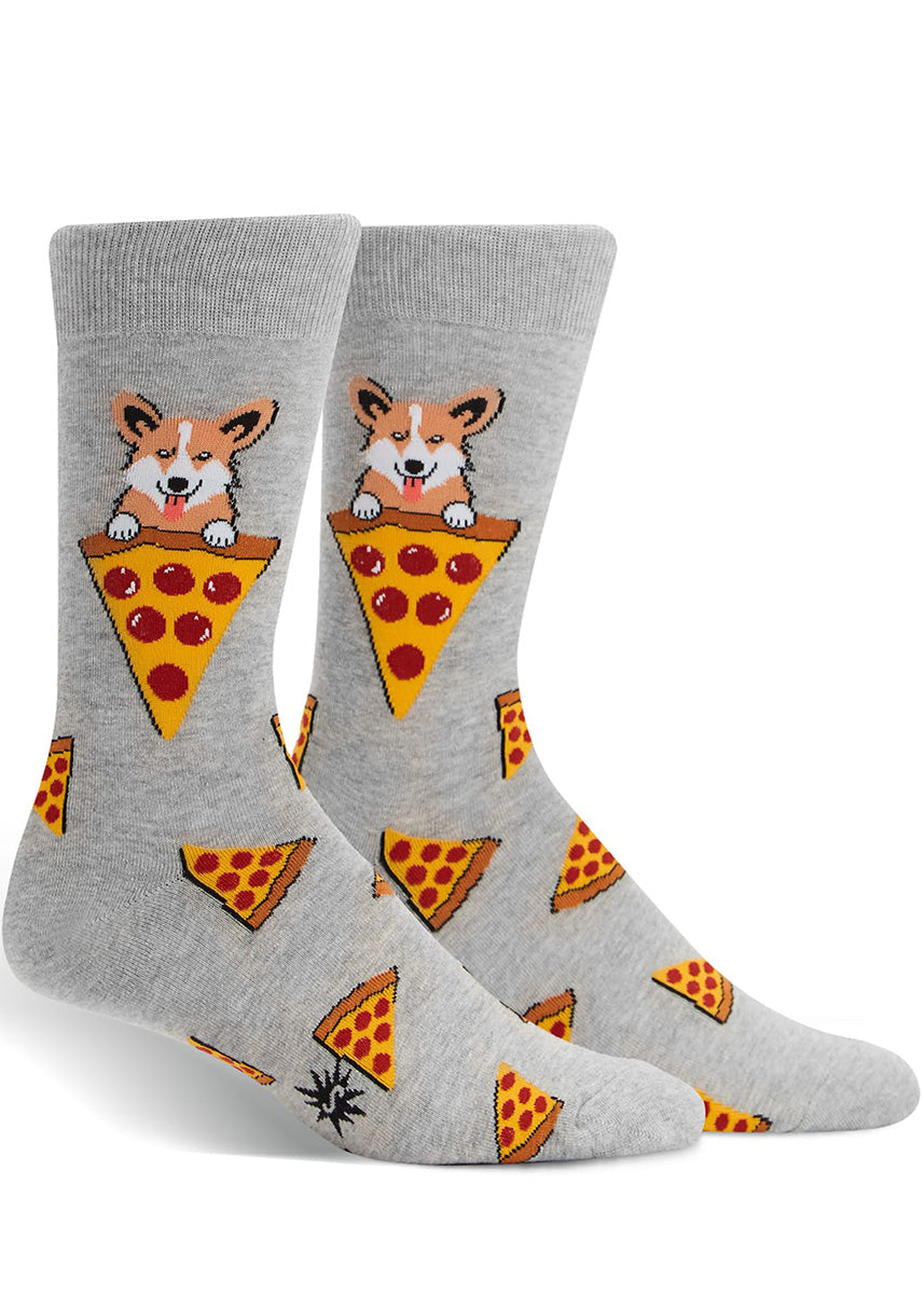 Funny men's socks with corgi dogs and pizza slices on a gray background