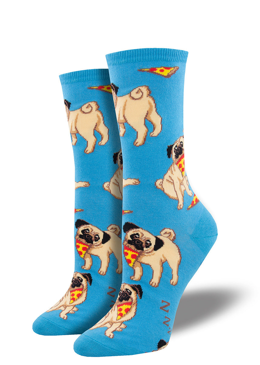 Adorable pugs eating pizza on a bright blue background.