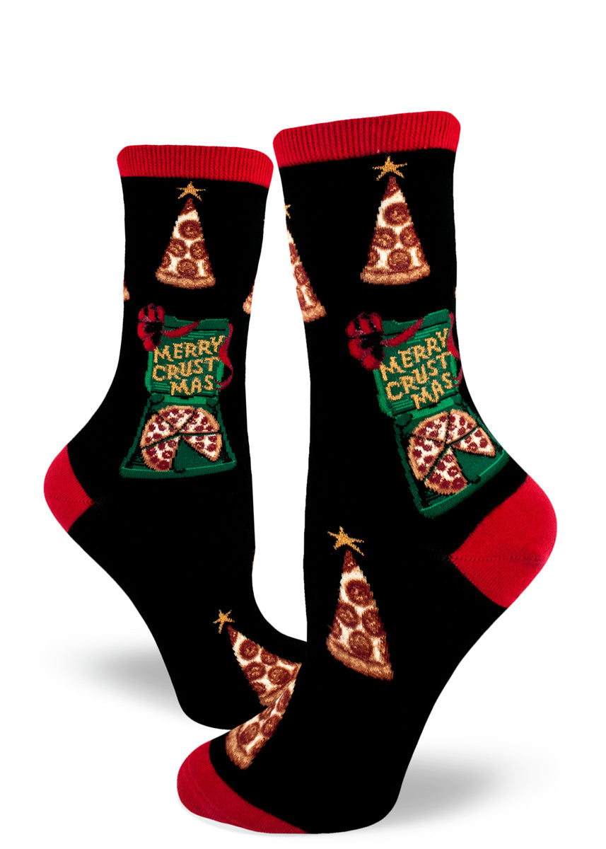 Christmas pizza socks for women with pizza Christmas trees and pizza boxes that say Merry Crustmas