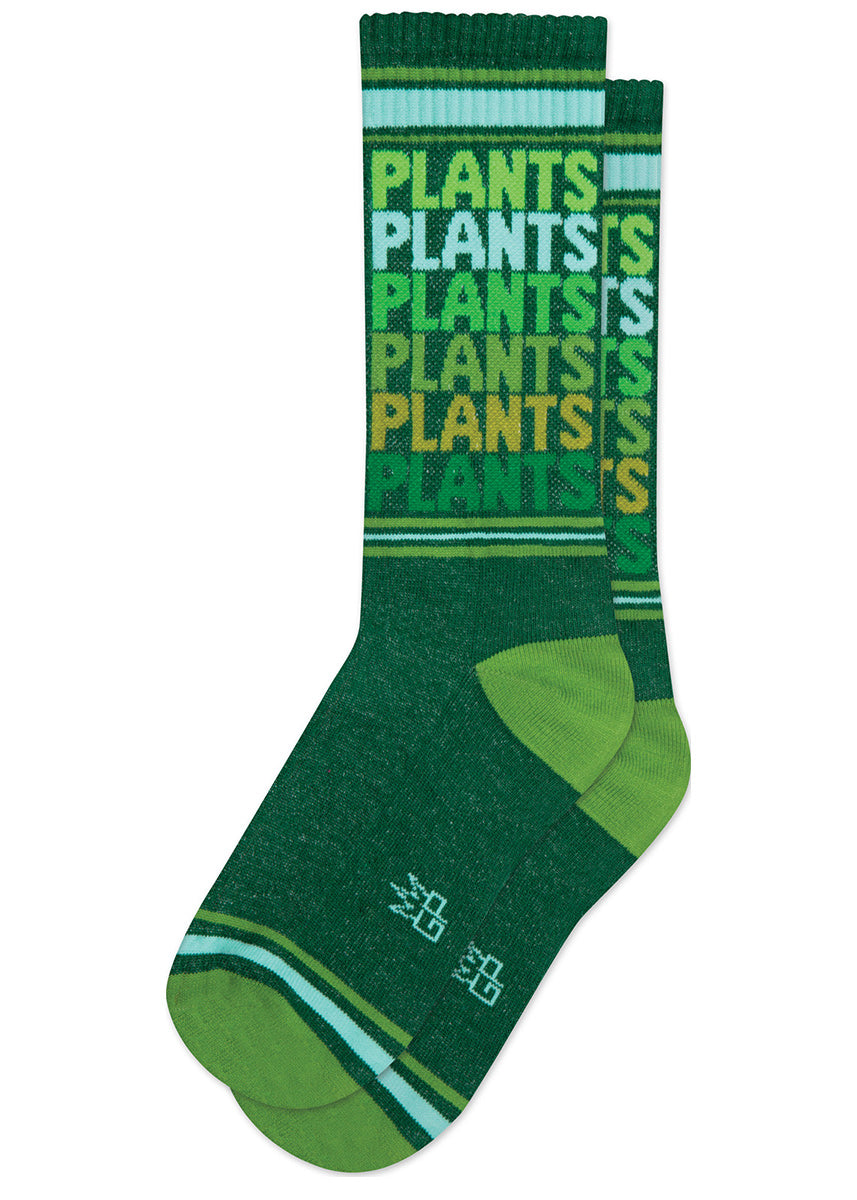 "The word ""PLANTS"" repeated in shades of green and blue on retro gym socks."