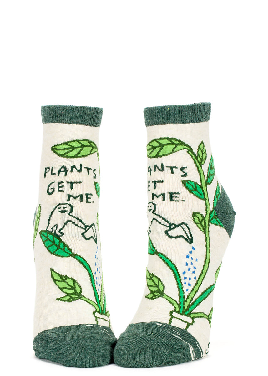 "Ankle socks for gardeners that say ""Plants get me."""