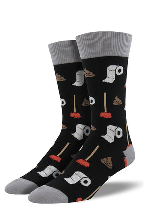 Covered in poop, toilet paper and bathroom plungers, these funny socks are for men who love potty humor.