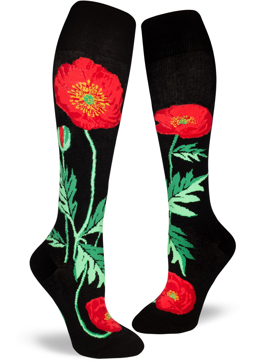 Knee-high poppy socks for women with red poppies on a black background with an extra-stretchy cuff