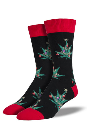 Christmas pot leaf socks for men with marijuana leaves decorated like Christmas trees
