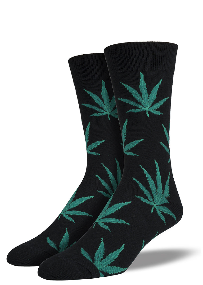 Pot leaf socks for men with marijuana leaves on black socks